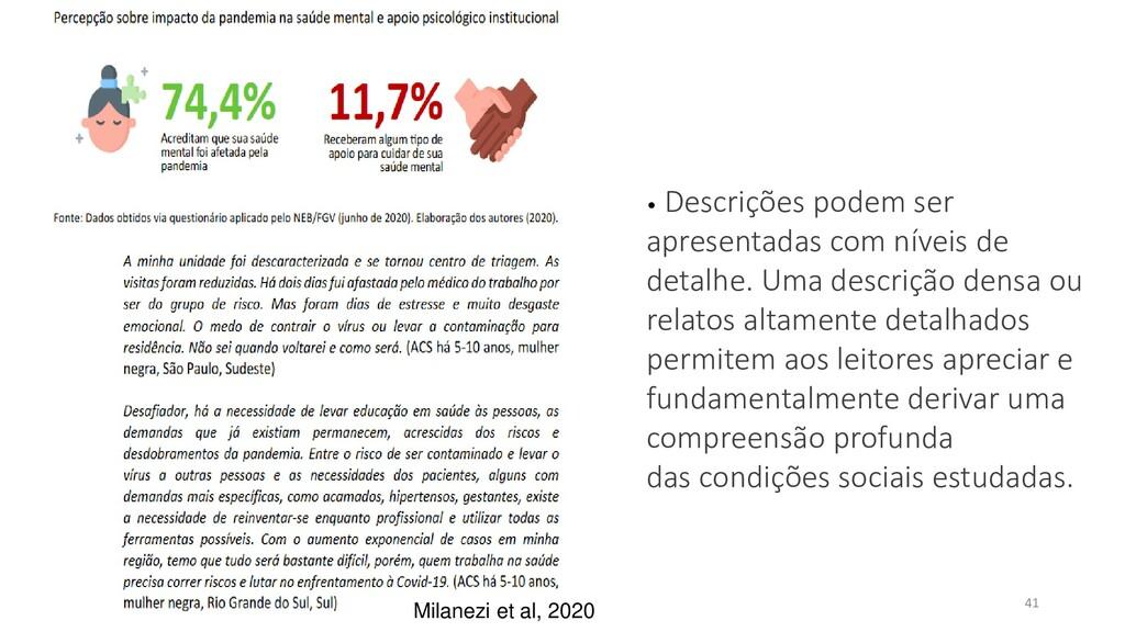 41 Milanezi et al, 2020 • Descrições podem ser ...
