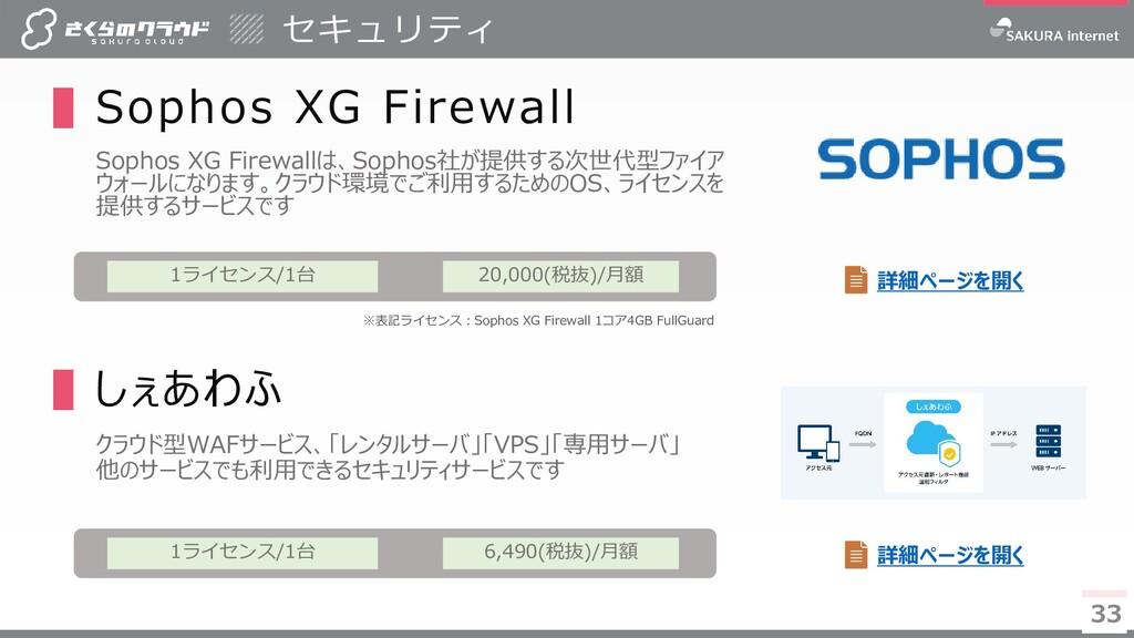 33 33 ▌Sophos XG Firewall Sophos XG Firewallは、S...