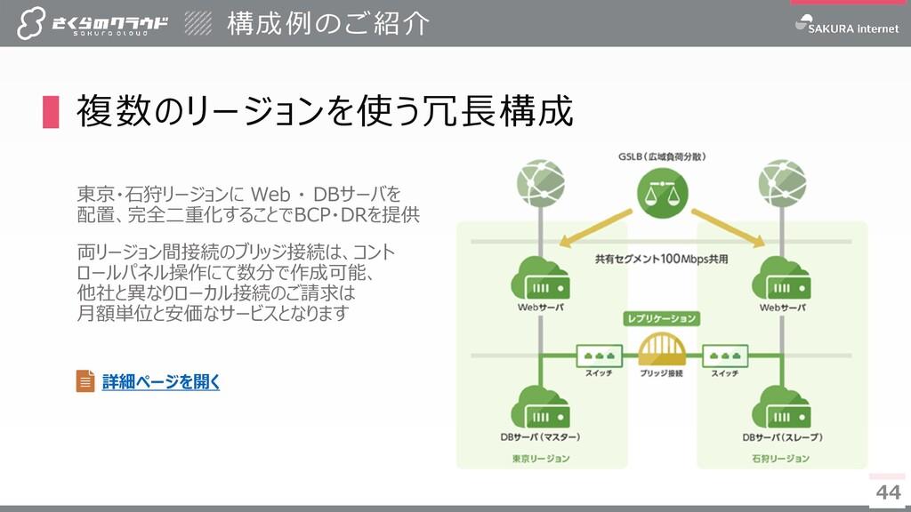 44 44 ▌複数のリージョンを使う冗長構成 東京・石狩リージョンに Web ・ DBサーバを...