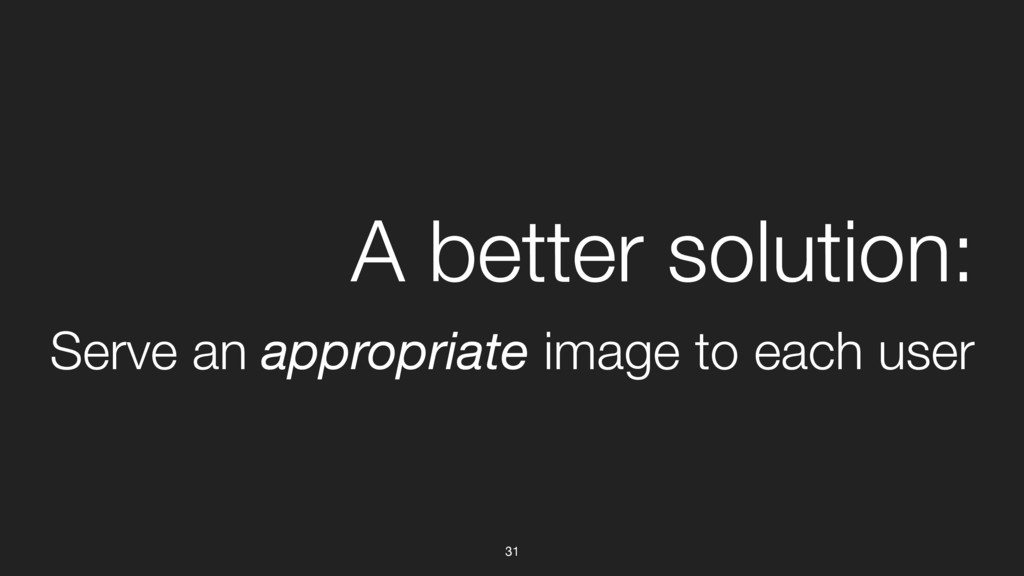 31 A better solution: Serve an appropriate imag...