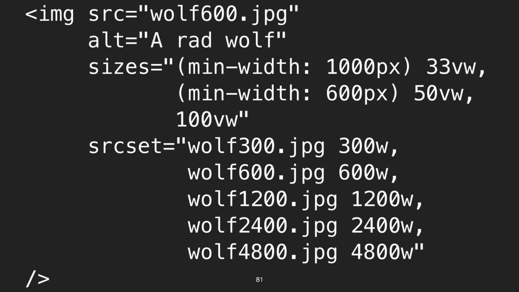 "<img src=""wolf600.jpg"" alt=""A rad wolf"" sizes=""..."
