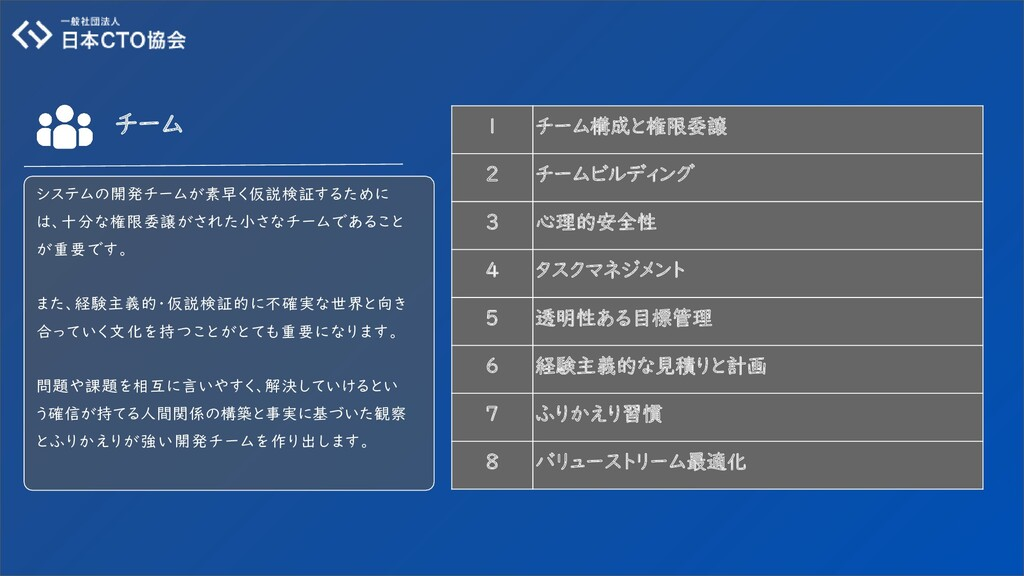1 チーム構成と権限委譲 2 チームビルディング 3 心理的安全性 4 タスクマネジメント 5...