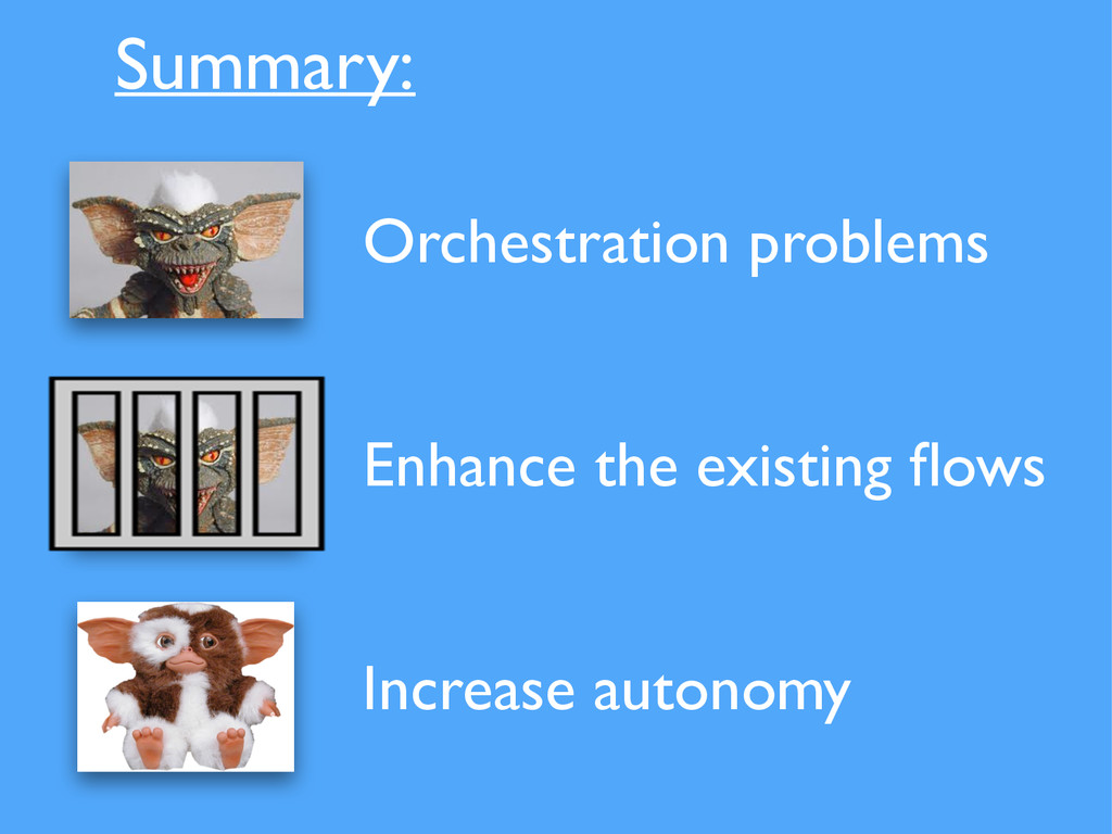 Summary: Orchestration problems Enhance the exi...