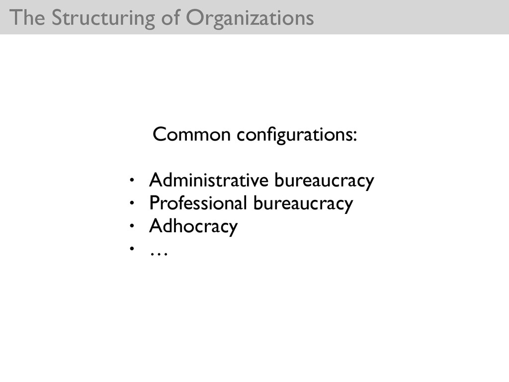 The Structuring of Organizations Common configur...