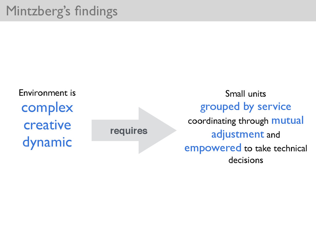 Mintzberg's findings Environment is  complex ...