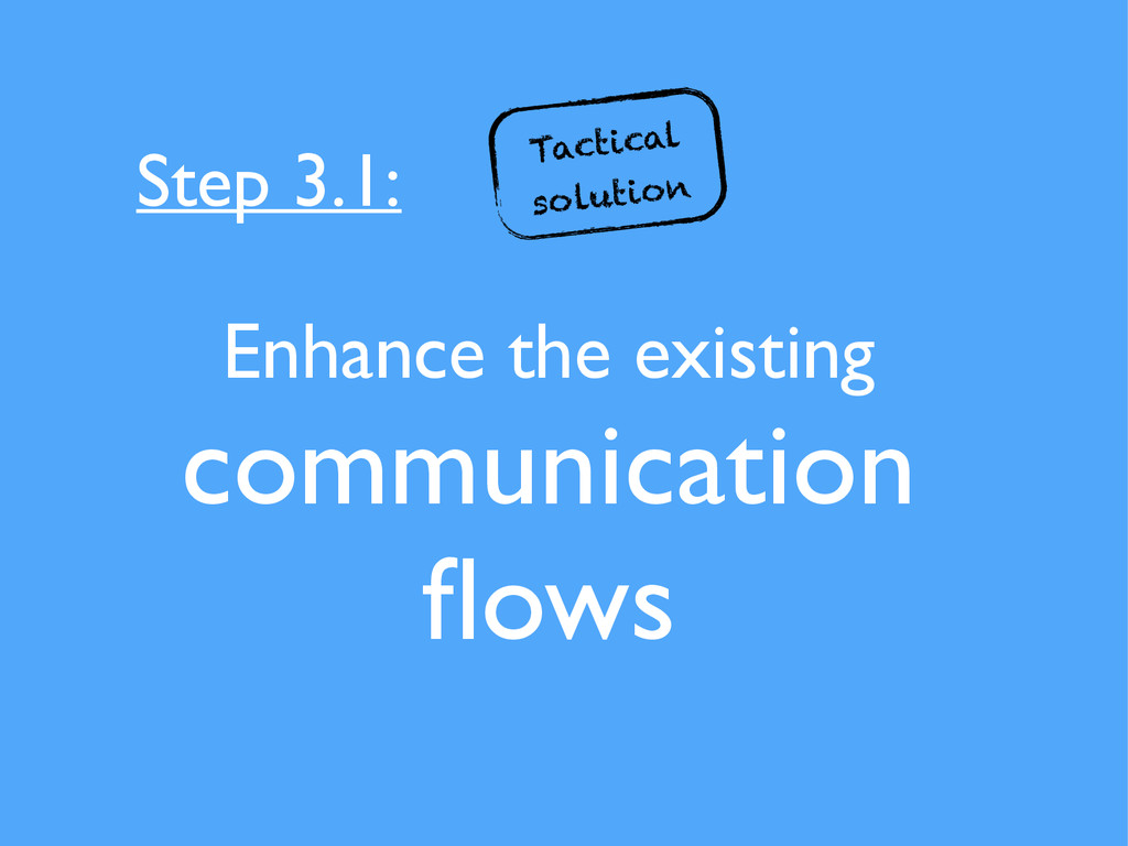 Enhance the existing communication flows Step 3....