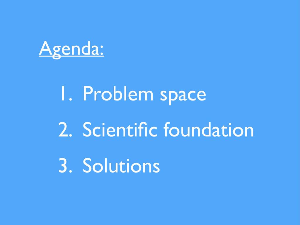 1. Problem space  2. Scientific foundation  ...
