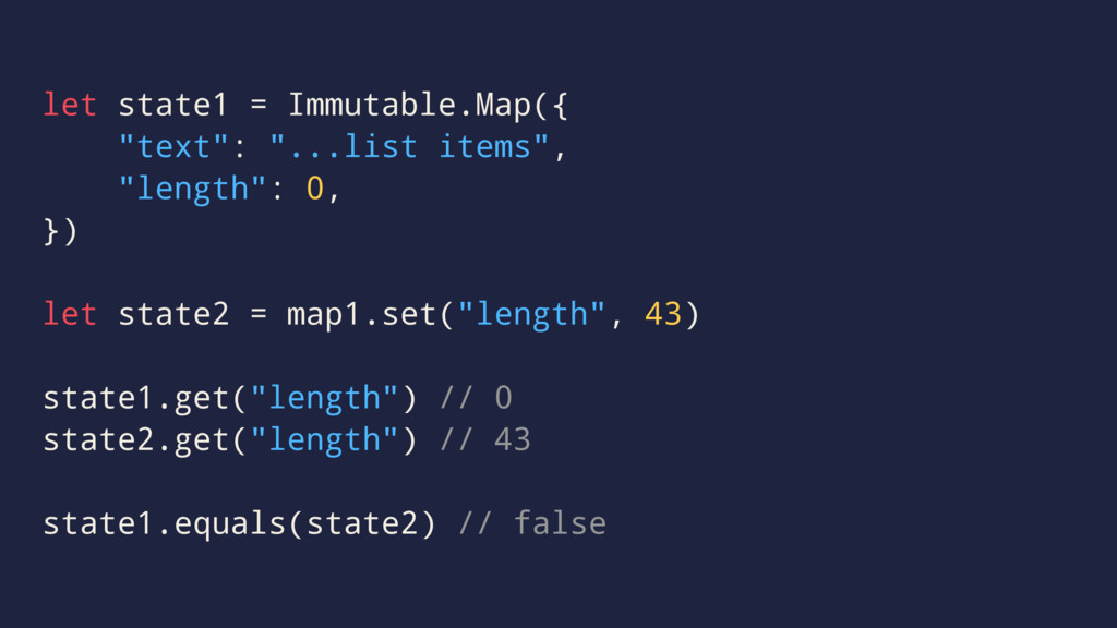 "let state1 = Immutable.Map({ ""text"": ""...list i..."