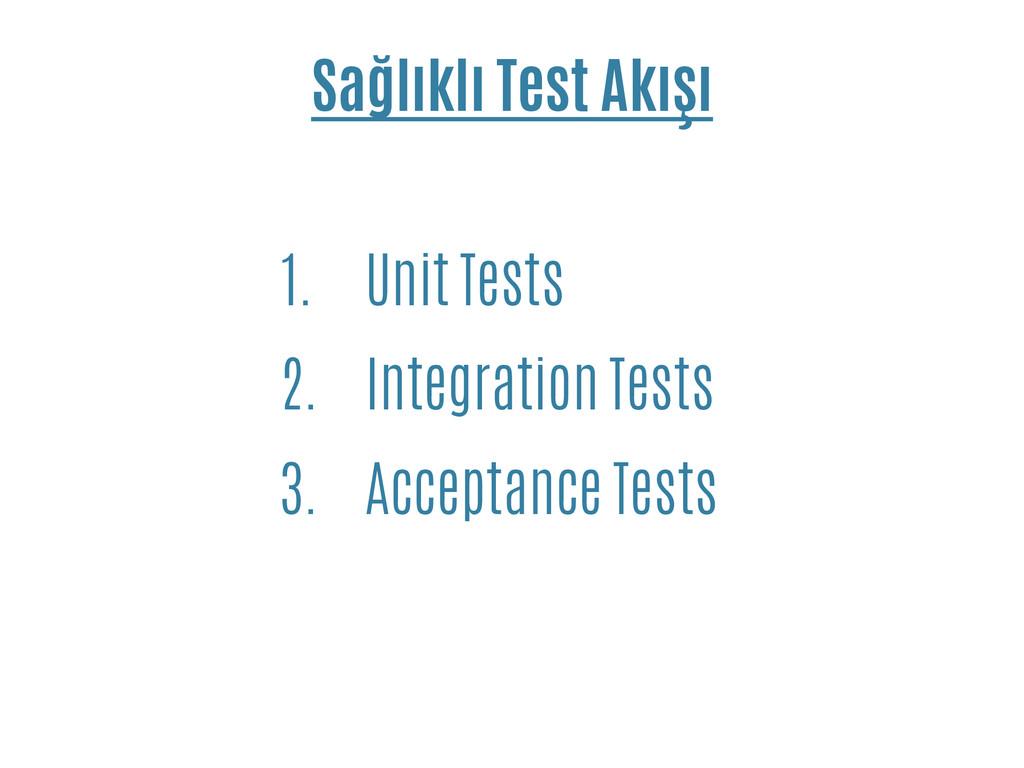 Sağlıklı Test Akışı 1. Unit Tests 2. Integratio...
