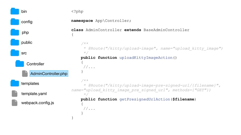 bin public src config <?php namespace App\Contro...