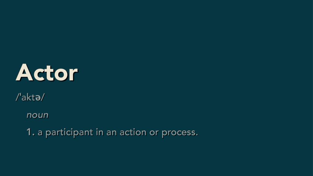 Actor /ˈaktə/ noun 1. a participant in an actio...