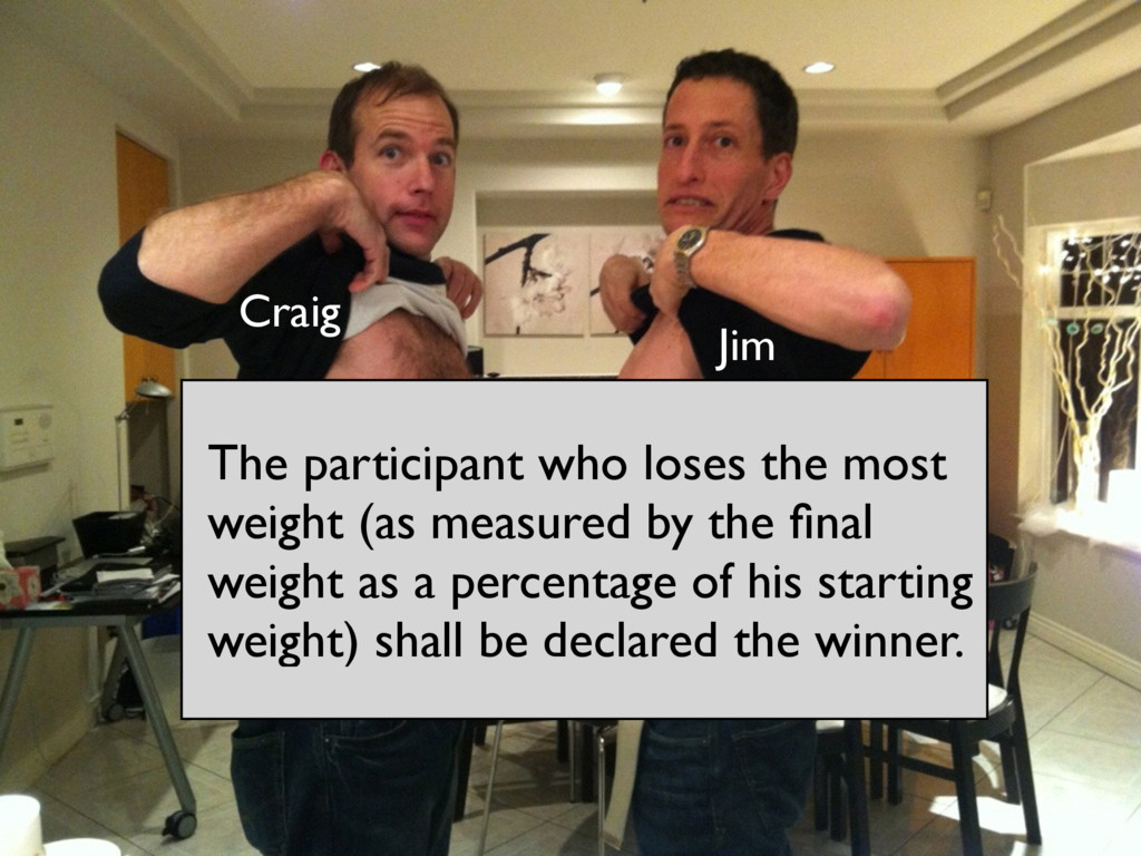 The participant who loses the most weight (as m...