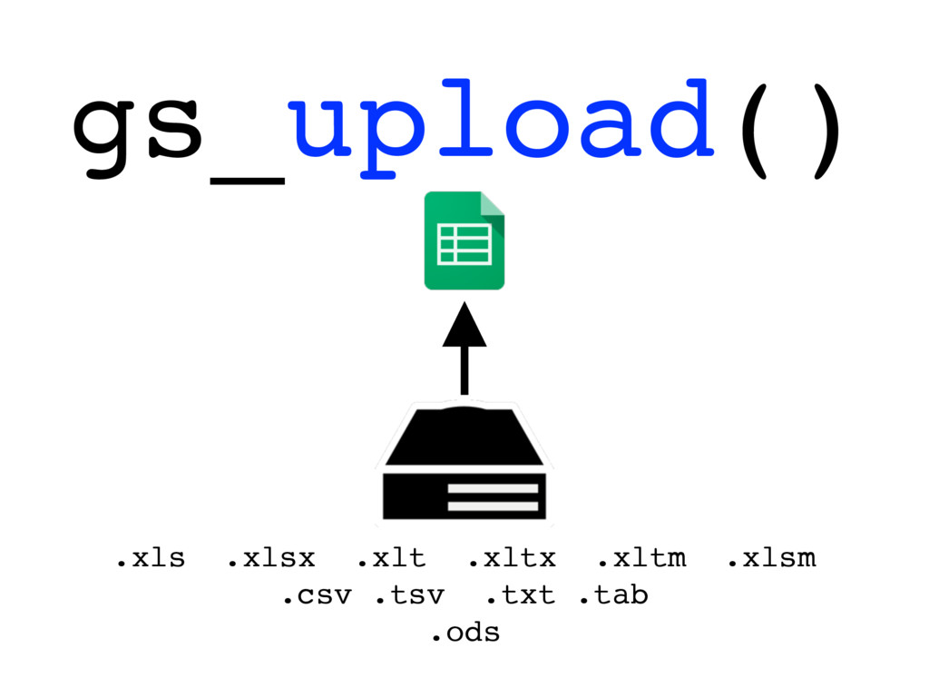 gs_upload() .xls .xlsx .xlt .xltx .xltm .xlsm ....