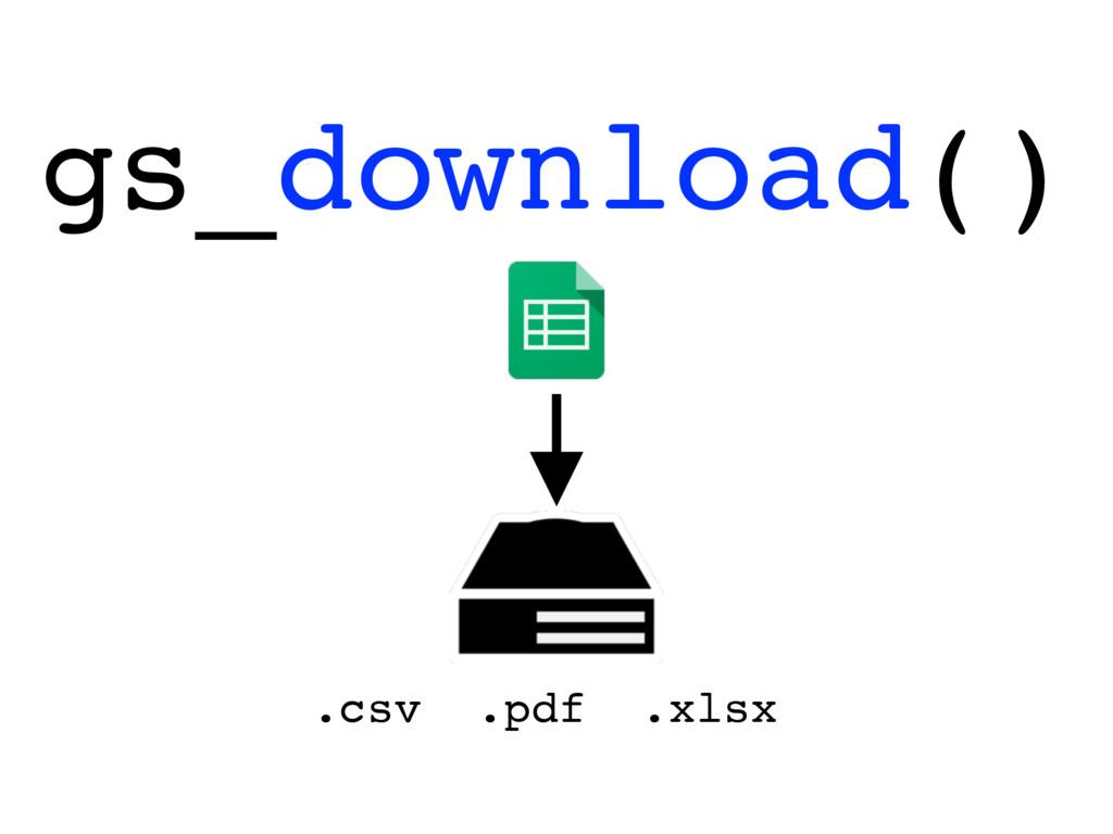 gs_download() .csv .pdf .xlsx