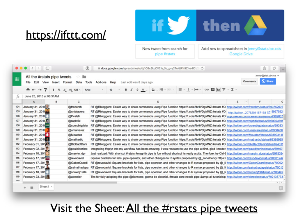 Visit the Sheet: All the #rstats pipe tweets ht...