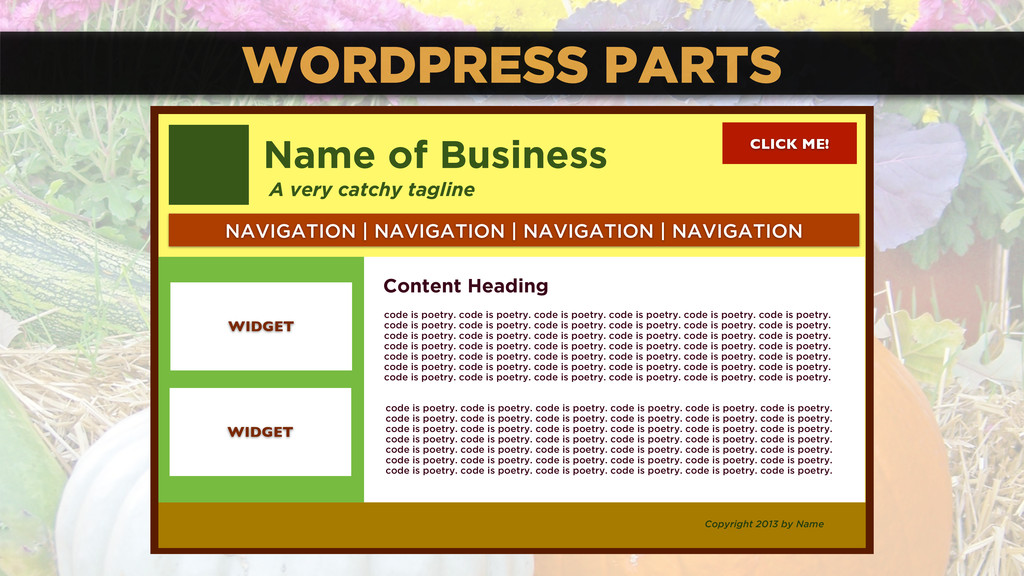 WORDPRESS PARTS CLICK ME! Name of Business A ve...