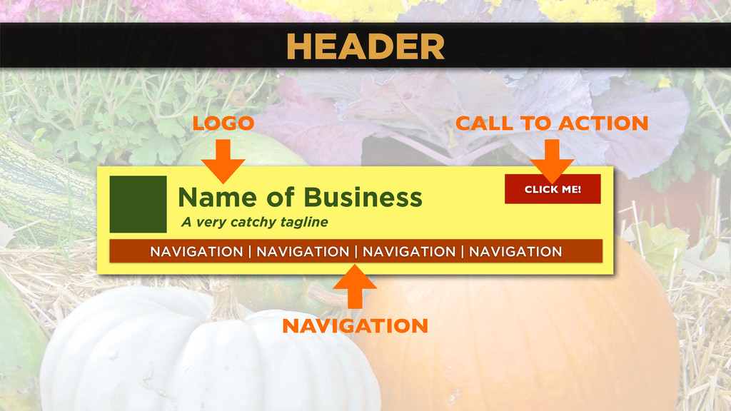 HEADER Name of Business A very catchy tagline N...