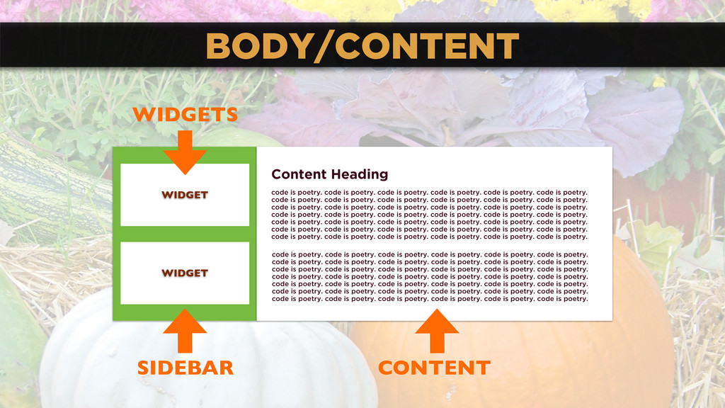 BODY/CONTENT Content Heading code is poetry. co...