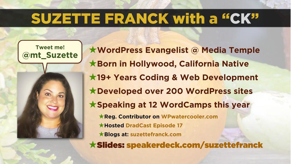 "SUZETTE FRANCK with a ""CK"" ★WordPress Evangelis..."