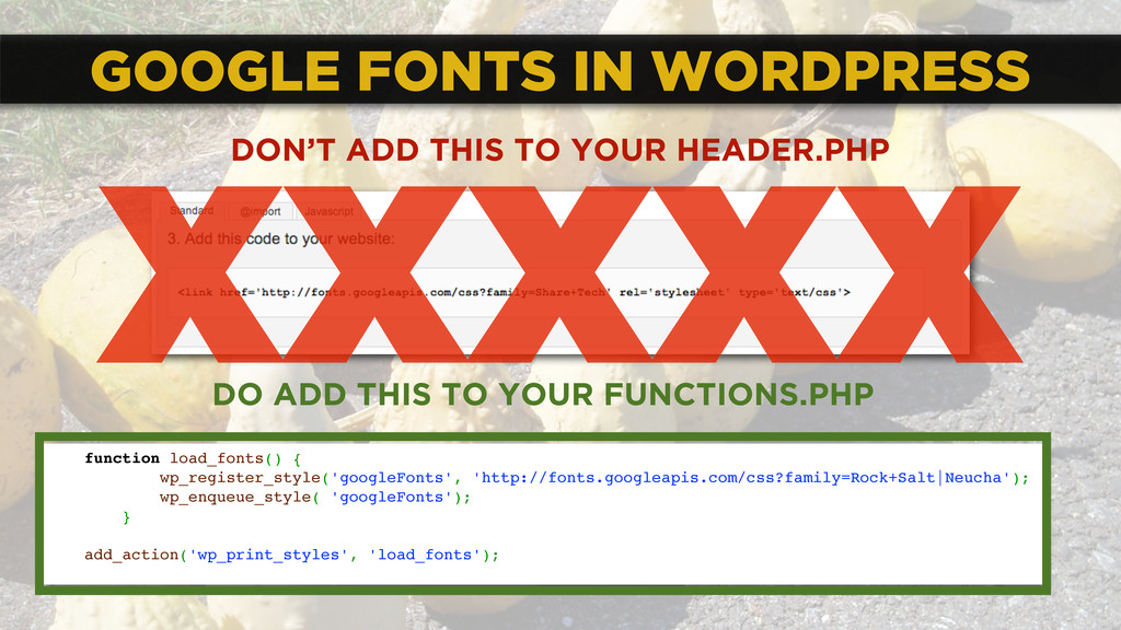 GOOGLE FONTS IN WORDPRESS function load_fonts()...