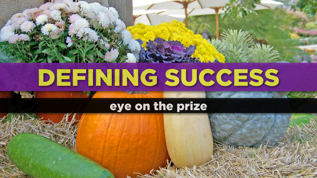DEFINING SUCCESS eye on the prize
