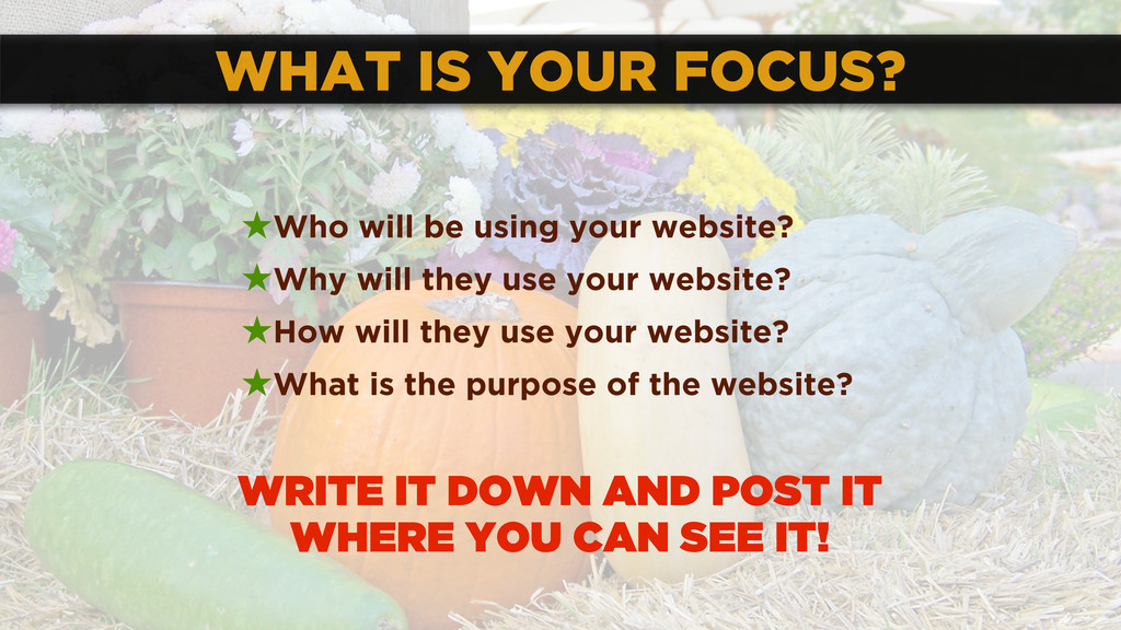 WHAT IS YOUR FOCUS? ★Who will be using your web...