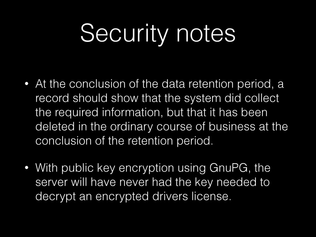 Security notes • At the conclusion of the data ...