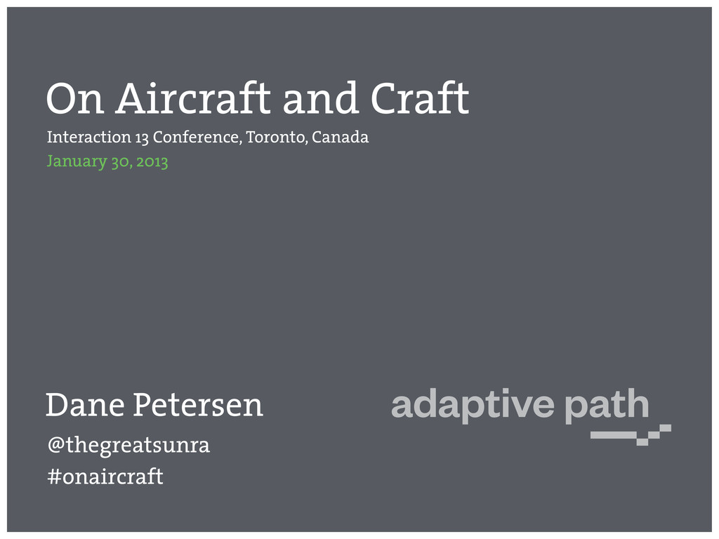 On Aircraft and Craft Interaction 13 Conference...