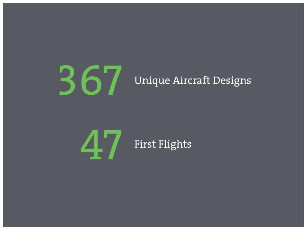 367 Unique Aircraft Designs 47 First Flights
