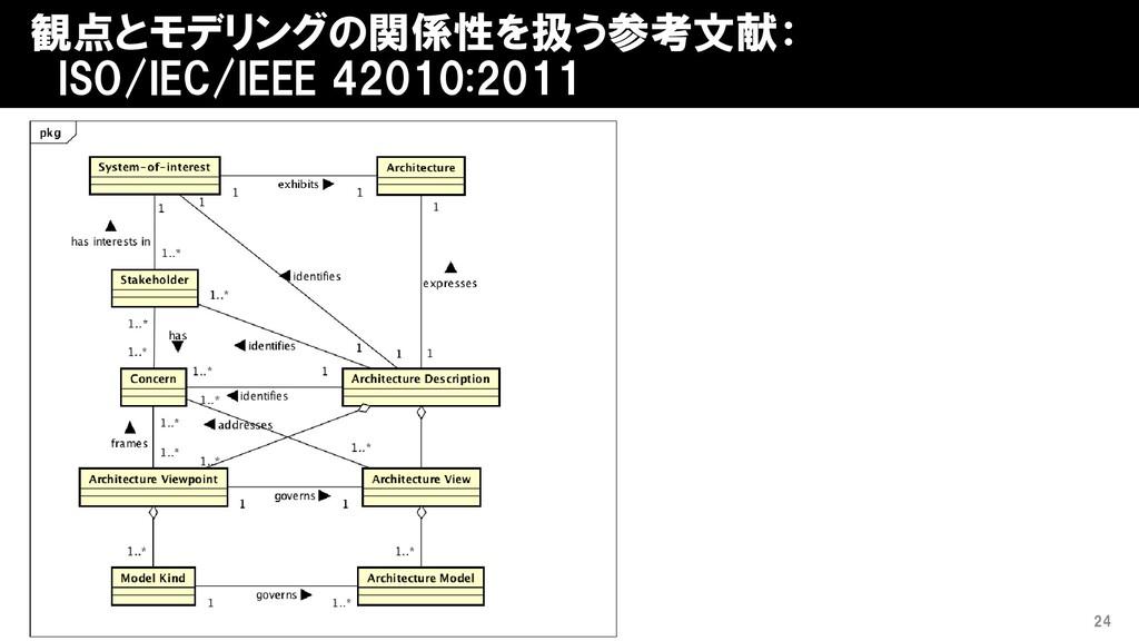 観点とモデリングの関係性を扱う参考文献: ISO/IEC/IEEE 42010:2011 24