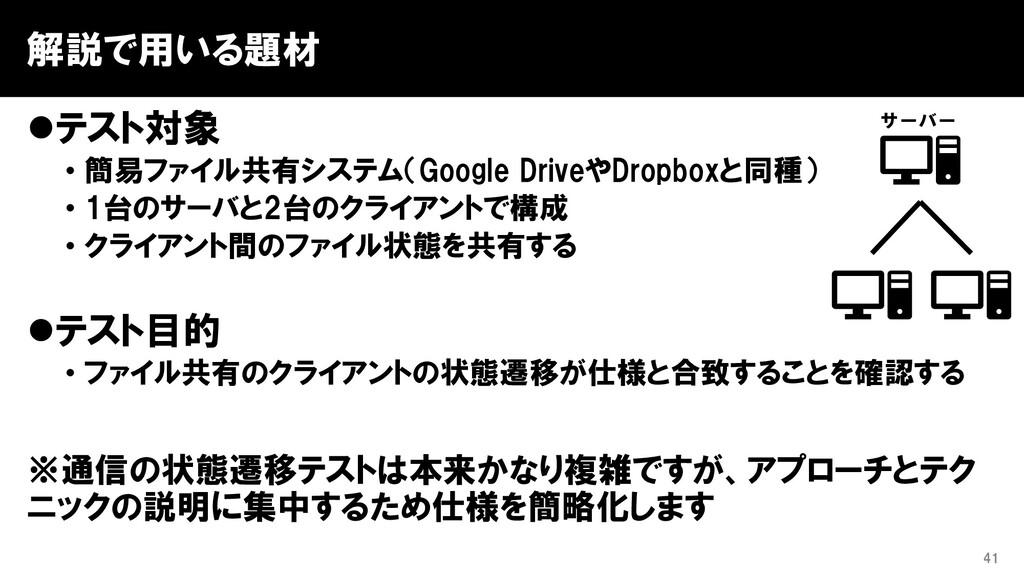 解説で用いる題材 ⚫テスト対象 • 簡易ファイル共有システム(Google DriveやDro...