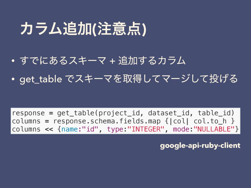 ΧϥϜՃ(ҙ) • ͢Ͱʹ͋ΔεΩʔϚ + Ճ͢ΔΧϥϜ • get_table Ͱε...