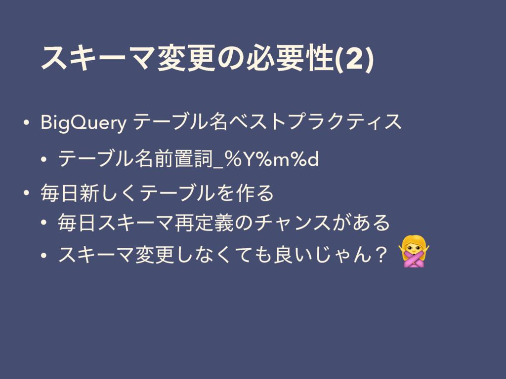 εΩʔϚมߋͷඞཁੑ(2) • BigQuery ςʔϒϧ໊ϕετϓϥΫςΟε • ςʔϒϧ໊...