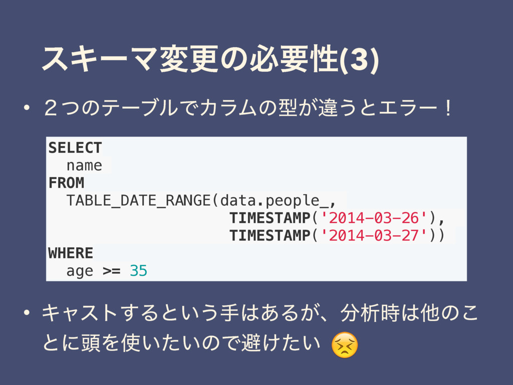 εΩʔϚมߋͷඞཁੑ(3) • ̎ͭͷςʔϒϧͰΧϥϜͷܕ͕ҧ͏ͱΤϥʔʂ SELECT na...