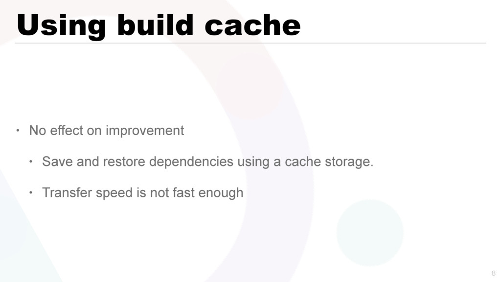 Using build cache • No effect on improvement • ...