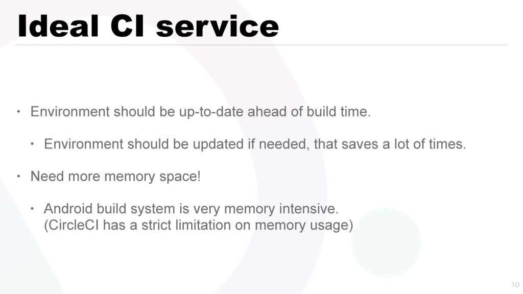 Ideal CI service • Environment should be up-to-...