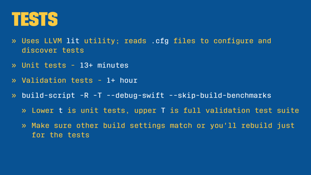 Tests » Uses LLVM lit utility; reads .cfg files ...