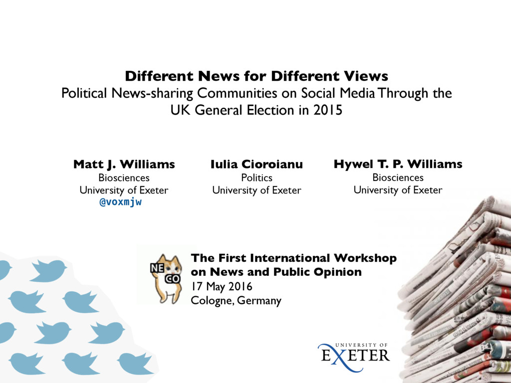 The First International Workshop on News and Pu...