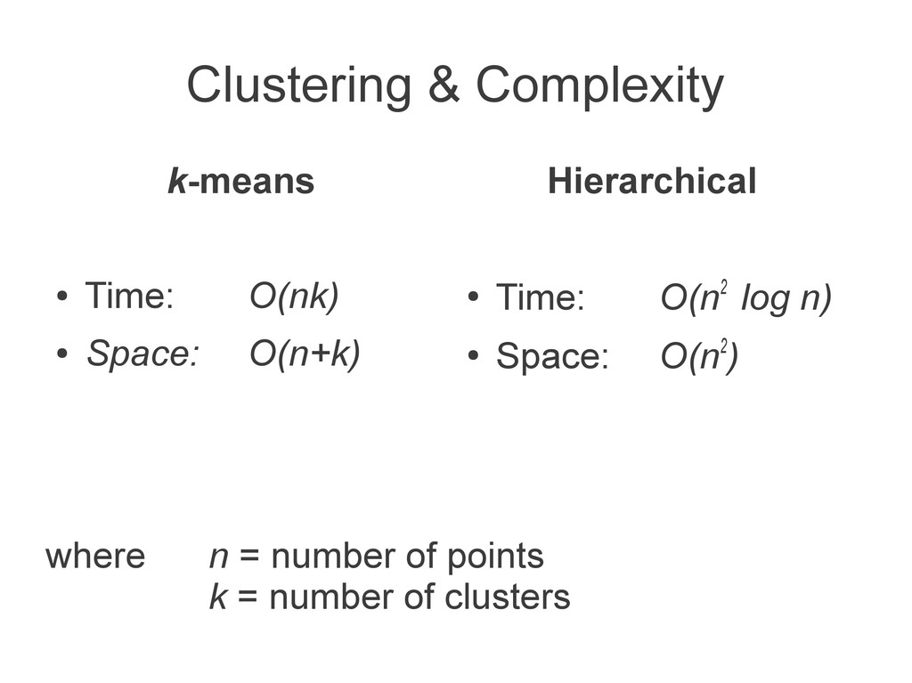 Clustering & Complexity k-means ● Time: O(nk) ●...