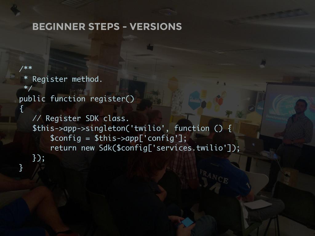 BEGINNER STEPS - VERSIONS /** * Register method...