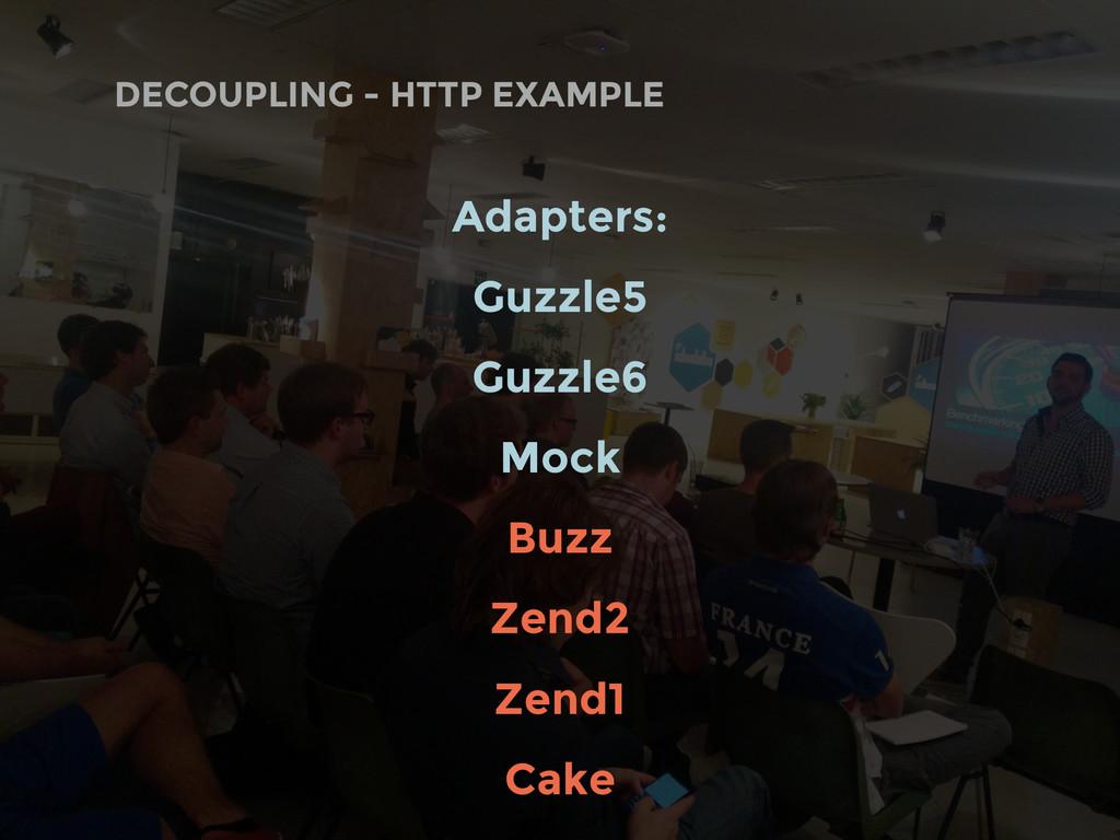 DECOUPLING - HTTP EXAMPLE Adapters: Guzzle5 Guz...