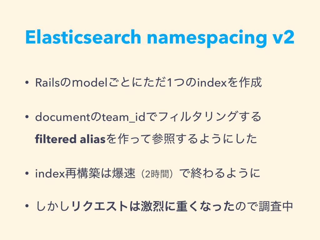 Elasticsearch namespacing v2 • Railsͷ̼odel͝ͱʹͨͩ...
