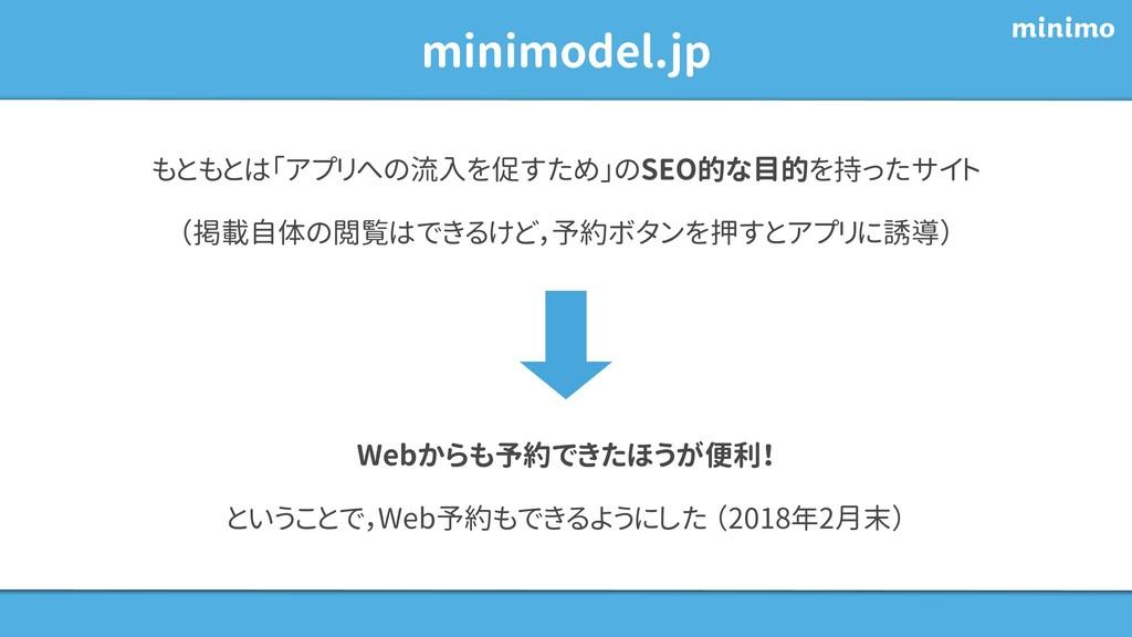 minimodel.jp もともとは「アプリへの流入を促すため」のSEO的な目的を持ったサイト...