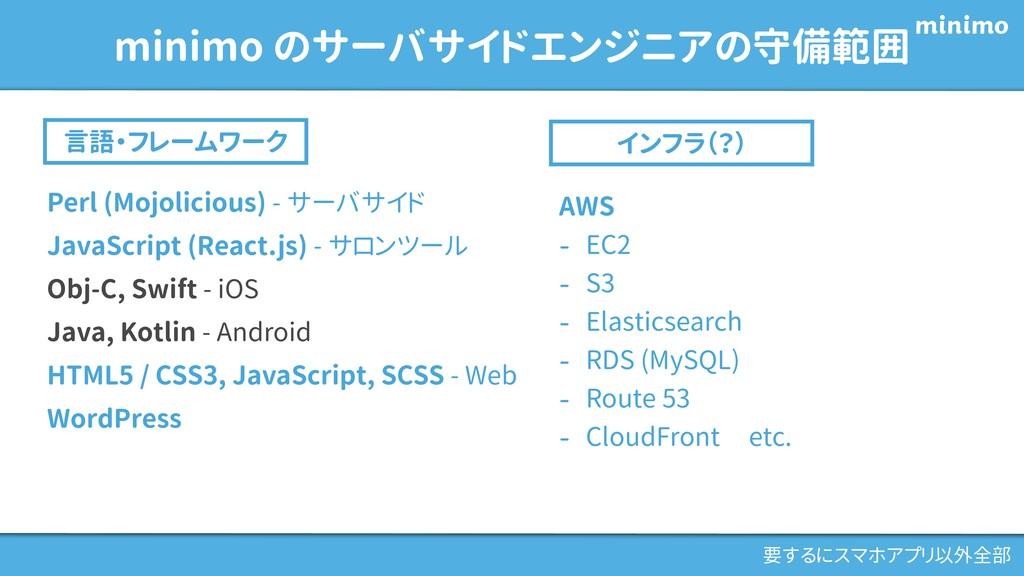 minimo のサーバサイドエンジニアの守備範囲 言語・フレームワーク インフラ(?) AWS...