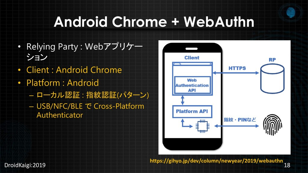 Android Chrome + WebAuthn • Relying Party : Web...