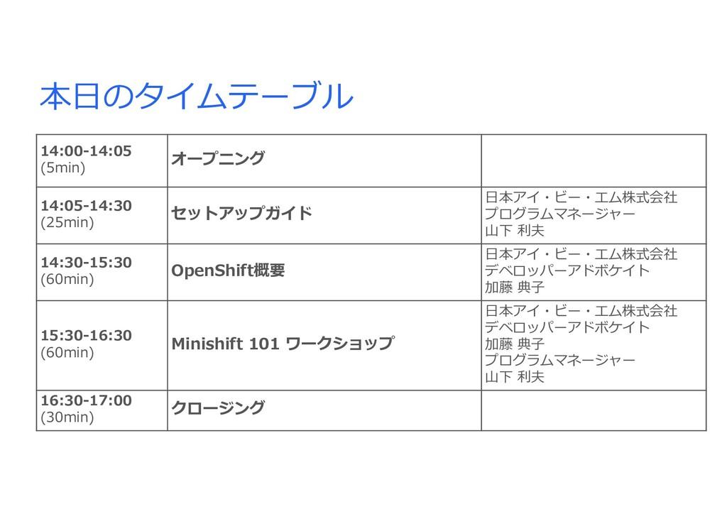 本⽇のタイムテーブル 14:00-14:05 (5min) オープニング 14:05-14:3...