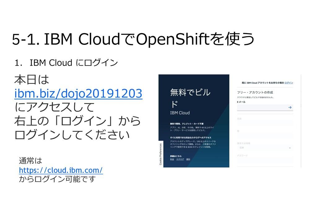 5-1. IBM CloudでOpenShiftを使う 1. IBM Cloud にログイン ...