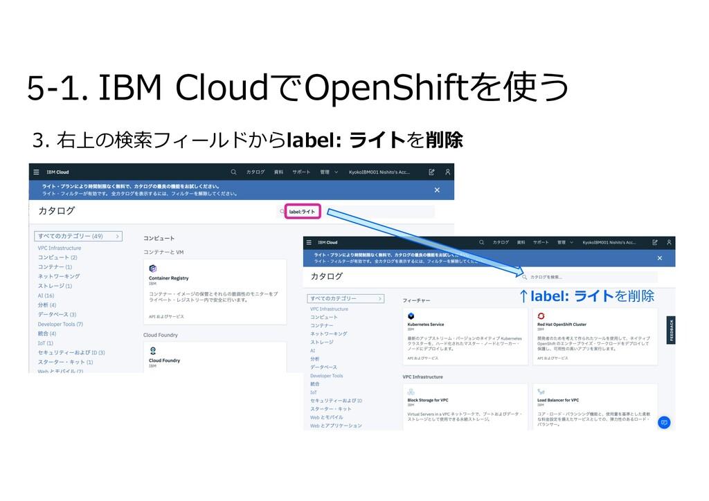 5-1. IBM CloudでOpenShiftを使う 3. 右上の検索フィールドからlabe...