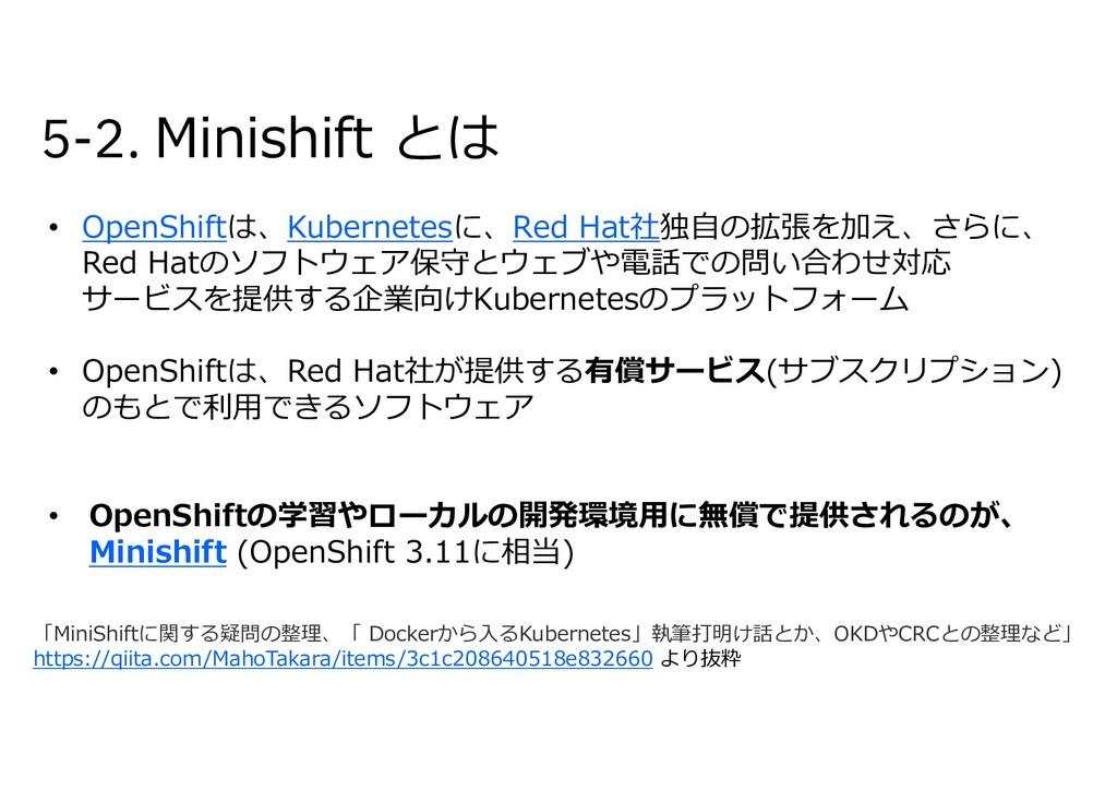 5-2. Minishift とは • OpenShiftは、Kubernetesに、Red ...
