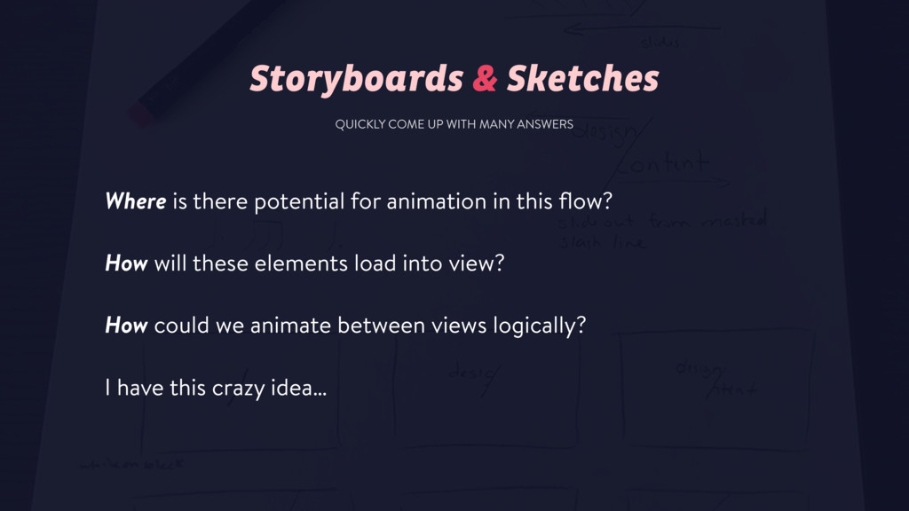 Storyboards & Sketches Where is there potential...